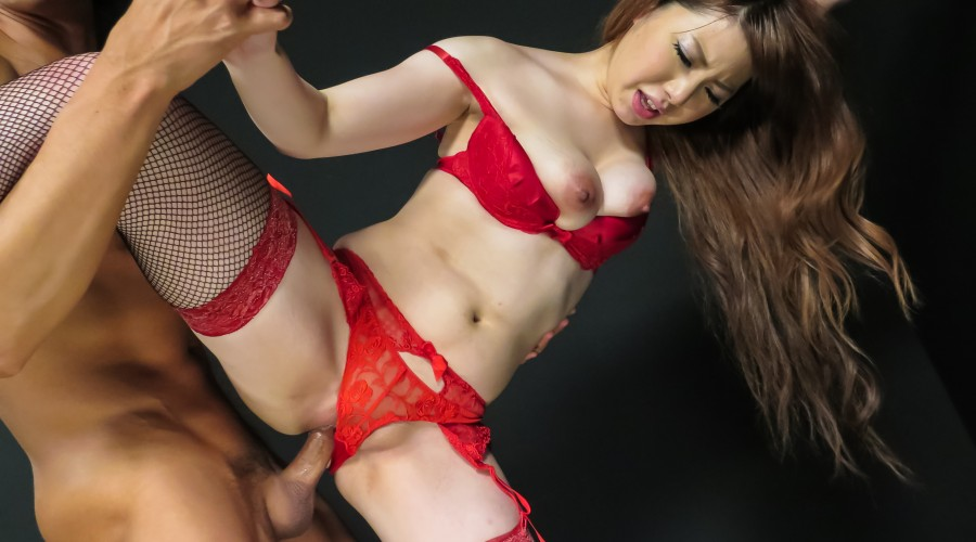 Ai yuumi in red lingerie has furry muff toyed 6